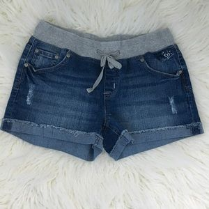 Drawstring jean shorts- rolled up edge